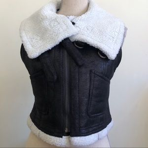 TOV Holy faux suede bomber vest